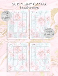 2018 weekly planner pages on Etsy!