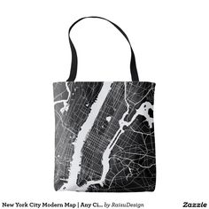 New York City Modern Map | Any City Tote Bag New York City, Reusable Tote Bags, Map, Modern, Trendy Tree, New York, Location Map, Maps, Nyc