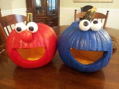Elmo and Cookie Monster pumpkins