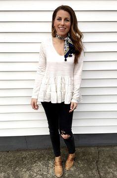 What I Wore Last Week. www.jillianrosado.com IG @Jillian Rosado  Winter Fashion.  Apricot Lane Peoria | H&M | Anthropologie | Stella & Dot | Peplum | Neck Tie | Neck Scarf | Bandanna