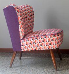 fauteuil-cocktail-vintage-violet-tissu-motifs tissu melle dimanche