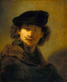 #Rembrandt created at least a dozen self-portraits every decade throughout his 40-year career, giving us a visual timeline of his life as he aged. This painting was created in 1634, some three years after his move to #Amsterdam, and it is likely he used this work and other self portraits as an advertisement for #portrait commissions. Poster available from #VintPrint