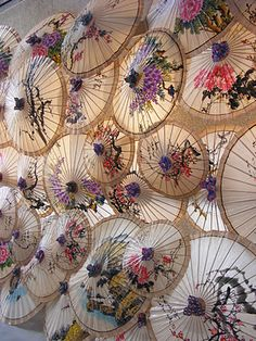 Paper umbrella with Tung flower- making paper umbrella used to be the main source of living for Hakkanese in the olden days