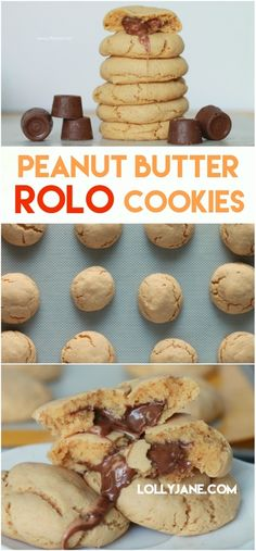 These peanut butter Rolo cookies are so good! Easy to make too! Just 5 ingredients for this easy cake mix peanut butter Rolo cookie dessert including Jif peanut butter powder, yum! Rolo Cookies, Cake Mix Cookies, Peanut Butter Cookies, Yummy Cookies, Chocolate Chip Cookies, Chocolate Cake, Delicious Cookie Recipes, Yummy Treats, Sweet Recipes