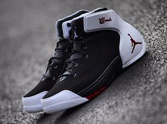 shoes - Jordan Melo 1 5 Black Gym Red White Release Date SneakerNews com Mens Basketball Sneakers, Jordan Basketball Shoes, Air Jordan Shoes, Mens Fashion Shoes, Sneakers Fashion, Nike Free Shoes, Nike Shoes, Baskets, Converse