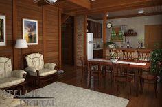 Atellie Digital: Casa Pré-fabricada em madeira baseada em um projeto da Santana Casas de Madeira e Alvenaria Rest House, House 2, House In The Woods, Casa Real, Wood Home Decor, Interior Decorating, Interior Design, Good House, Tropical Houses