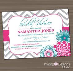 Printable Wedding Shower Invitation Bridal by InvitingDesignStudio, $18.00