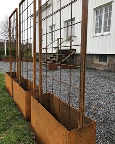 rusty planting boxes with slit from www rostikt se ready for delivery ga… Modern is part of Garden - rusty planting boxes with slit from www rostikt se ready for delivery ga rusty plant Rooftop Garden, Balcony Garden, Garden Planter Boxes, Pergola Attached To House, Pergola Plans, Pergola Ideas, Pergola Kits, Garden Trellis, Plantation
