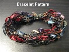 Show details for Crocheted Trellis Ribbon Yarn Bracelet Pattern - Emailed within 24 hours Yarn Bracelets, Yarn Necklace, Ribbon Necklace, Bead Earrings, Crochet Crafts, Crochet Yarn, Yarn Crafts, Crochet Stitches, Ribbon Jewelry