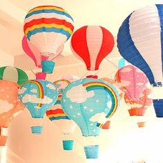 30cm Rainbow printing paper lantern hot air balloon wedding decoration children's room hanging birthday party decorations
