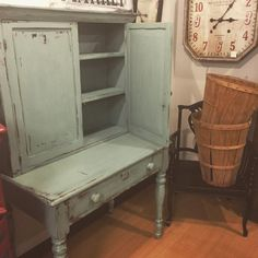 Jennifer at Closetology in Barberton OH made the perfect choice in picking Duck Blue by CeCe Caldwell's Chalk and Clay Paint for this antique cupboard.