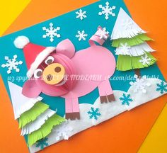 2019 Happy New Year Cartoon Pig in red holiday hat Capodanno . Duck Crafts, New Year's Crafts, Fall Crafts, Diy And Crafts, Paper Crafts, Christmas Crafts For Toddlers, Toddler Christmas, Crafts For Kids, Art Lessons For Kids