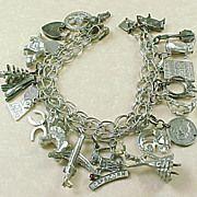 Vintage Sterling Silver Charm Bracelet ~ 21 Charms