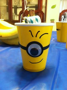 Minion cup- can find yellow cups :) @Samantha @This Home Sweet Home Blog @AbdulAziz Bukhamseen Home Sweet Home Blog J
