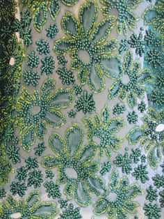 Beaded Lace, Green Beaded Lace, Lace with Beads, French Lace,