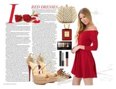 """""""Hot Red Dress"""" by lejlaaa1996 ❤ liked on Polyvore featuring Chanel, NYX, Maybelline, Bella Bellissima, Christian Louboutin, women's clothing, women, female, woman and misses"""