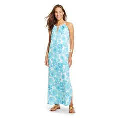 Lilly Pulitzer for Target Women's Satin Halter Maxi Dress - Sea Urchin for You