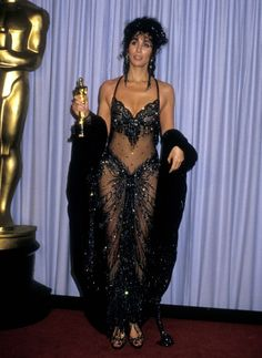 "1988 Oscars: Cher in Bob Mackie, the year she won for ""Moonstruck."""