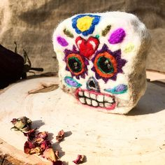 Felted sugar skull SOAP. Handmade, plant based, all natural soap. Wool felted soaps are a soap saver. check it out.