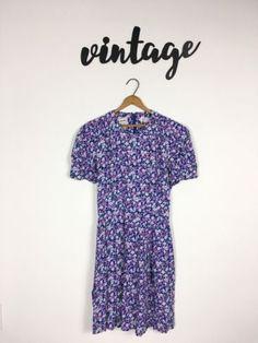 Vintage-Karin-Stevens-Women-039-s-Dress-Purple-Floral-Size-10-Retro-40-039-s-Style