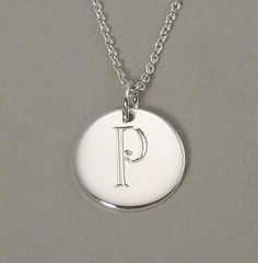 Sterling silver personalized engraved pendant by GaudyBaubles, $39.00