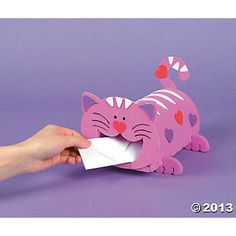 Cat Valentine Card Box Craft Kit, Novelty Crafts, Crafts for Kids, Craft & Hobby Supplies - Oriental Trading - Discontinued