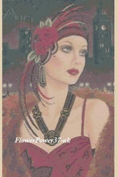 Cross stitch chart Art Deco Lady No 99 Flowerpower37-uk.-.FREE UK P&P | eBay