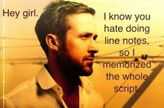 Stage Manager Ryan Gosling!  Yes, Please!