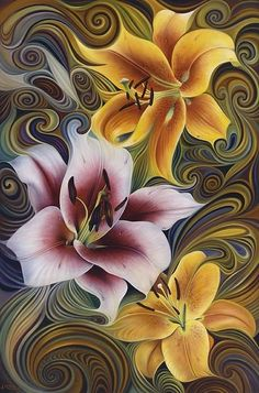 Flowers Acrylic Print featuring the painting Dynamic Triad by Ricardo Chavez-Mendez Art Floral, Silk Painting, Painting & Drawing, Painting Flowers, Flower Paintings, Painting Abstract, Fractal Art, Oeuvre D'art, Flower Art