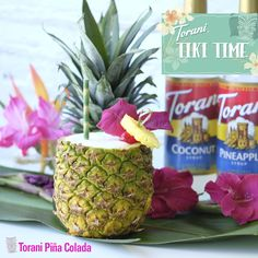 This Torani Pina Colada will make you feel like you're lounging in a tropical tiki bar! For this recipe, we used rum, frozen vanilla yogurt + Torani Coconut & Pineapple for just the right consistency and sweetness. Tropical Drink Recipes, Survivor Party, Coconut Syrup, Tiki Party, Vanilla Yogurt, Pina Colada, Consistency, Cocktail Recipes, Drinks