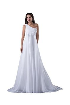 Graceful One Shoulder Empire Maxi Chiffon Formal Pageant Dress Sweep Train  4608 2 White Graceful http 29b2ca6e8903