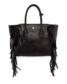 Glace Calf Twin Pocket Tote Bag, Black (Nero) by Prada at Neiman Marcus. $2,730.00