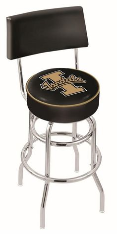"""Idaho Vandals metal swivel bar stool with back. Seat boasts a 15"""""""" diameter, commercial grade vinyl 4"""""""" cushion with silk screened logo. The silk screening process uses specially formulated vinyl pain"""