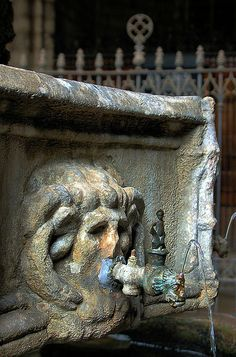 Fountain in the courtyard of the cathedral in Barcelona