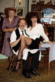 Gorden Kaye, Vicki Michelle, and Carmen Silvera in 'Allo 'Allo! British Tv Comedies, British Comedy, Stockings And Suspenders, Sexy Stockings, Vicki Michelle, Celebrities In Stockings, Celebrity Stockings, Sexy Legs And Heels, Comedy Tv