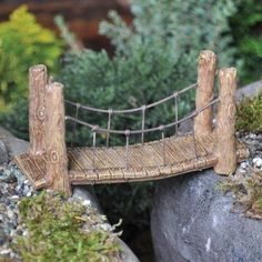 Mom -- cute addition to the fairy garden!  Miniature Fairy Garden Woodland Suspension Bridge