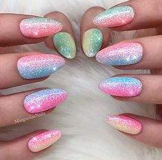Colorful glitter ombre unicorn nails trendy nails, funky nails, funky n Art D'ongles Pastel, Pastel Nails, Pastel Pink, Coral Gel Nails, Trendy Nail Art, Cute Nail Art, New Nail Designs, Art Designs, Design Ideas