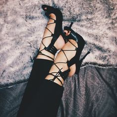 Black strappy high heel sandals | You can find this at =>…