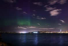 The Northern Lights dance above the Seattle skyline early Sunday morning. (Courtesy of Tim Durkan. Morning Sky, Sunday Morning, Seattle News, Evergreen Forest, Weather Underground, Emerald City, Aurora Borealis, Pacific Northwest, Seattle Skyline