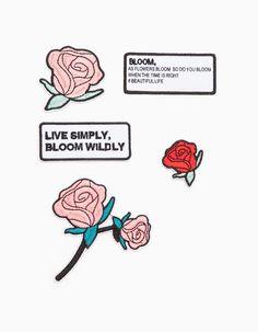 Na Stradivarius encontrarás 1 Set 5 remendos flores e texto bordados para mulher por apenas 5.95 € . Entra agora e descobre-o juntamente com mais CUSTOM MADE.