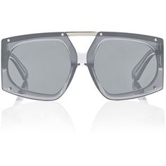 Karen Walker Women's Salvador Sunglasses ($315) ❤ liked on Polyvore featuring accessories, eyewear, sunglasses, silver, clear eyewear, oversized clear glasses, clear lens glasses, uv protection sunglasses and lens glasses