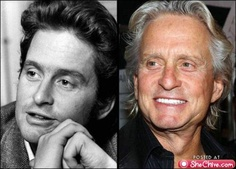 Michael Douglas. Then and now.  B. Handsome guy.  B.