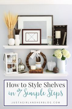 How to Style Shelves in 7 Simple Steps and My Fall Shelf Decor is part of Home Accessories Styling Shelves - How to Style Shelves in 7 Simple Steps this post makes shelf styling so simple! Cheap Home Decor, Diy Home Decor, Kitchen Decorating, Decorating Ideas, Decorating With Shelves, Decor Ideas, Home Interior, Interior Design, Interior Colors