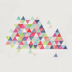 original geometric watercolor painting  -  geometric pattern -  rainbow triangles - geometric mountains