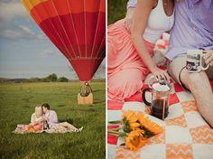 hot air balloon picnic engagement shoot