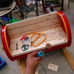 ドラム缶ベンチににゃんこの肉球焼印を|趣味工作の便利屋:あなたの困っているものづくり・試作を応援します