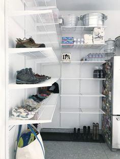 Simply Done: Custom Wall of Garage Shelving - simply organized Garage Shoe Storage, Garage Organization, Organisation Hacks, Storage Room, Organizing, Elfa Shelving, Garage Shelving, Garage Solutions, Closet Solutions