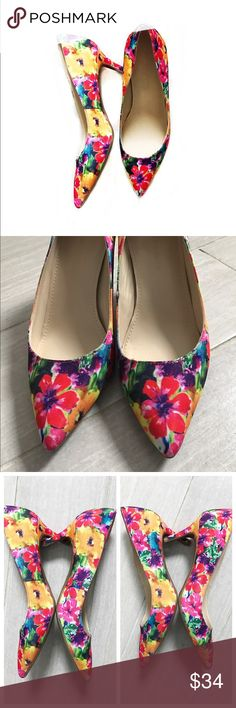 "HP Marc Fisher Floral Heels Pointy Toe Pumps Beautiful floral heels / pumps perfect for spring & summer! The flower design has red, yellow, purple, blue, green, etc. Multicolored. Closed toe. Pointed toe. Nice to add a pop of color to your outfit! Marc Fisher size 6 M. Heel is about 2.5"". I found these to be comfortable. Only worn twice.  host pickstreet style party3.26.2017 Marc Fisher Shoes Heels"