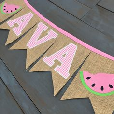 Girl Name Watermelon Red Gingham First Birthday Party Decorations Custom Burlap Banner Playroom Decor, Nursery, Baby Shower, or Photo Prop - Watermelon Decor, Baby Shower Watermelon, Watermelon Party Decorations, First Birthday Party Decorations, Happy Birthday Banners, Birthday Ideas, Watermelon Birthday Parties, First Birthday Parties, Gingham Party