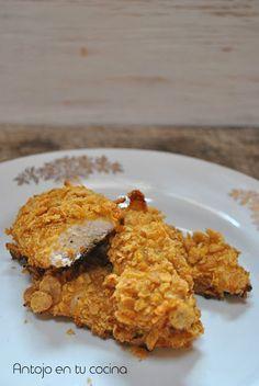 Pollo crujiente con miel y mostaza {al horno y sin huevo} - Honey and mustard…